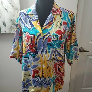 CHRISTIAN DIOR  COLORFUL FLORAL PRINT Shirt Sz 12